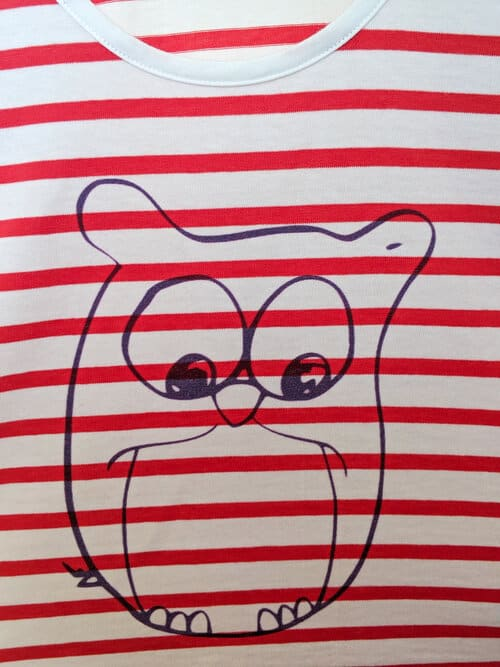 Nadia Fakhoury Paris Red Stripes Owl Illustration Crop Top