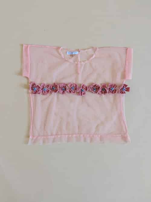 Rose Corps Pink Mesh Flower Top