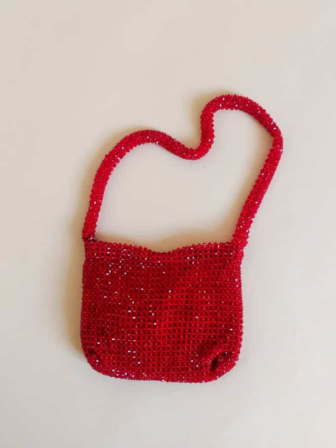 Red Crystal Beaded Bag Shakila Thebe