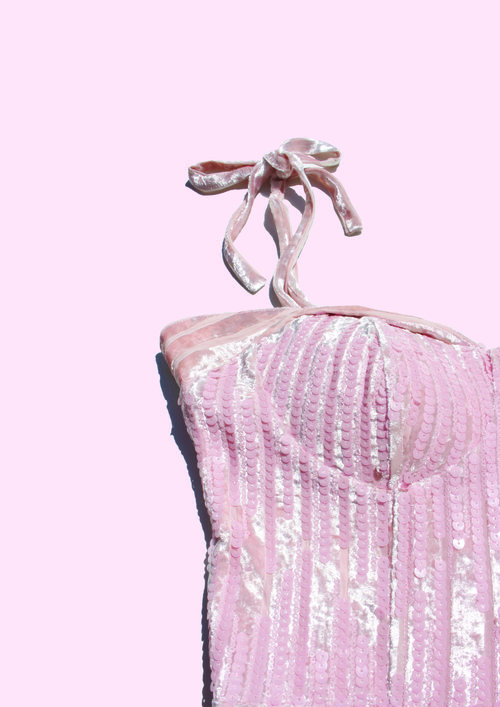 Pink Velvet Sequin Dress Maison Vermillion