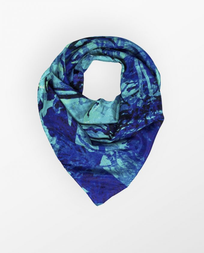 Forest Blue Silk Scarf KathKath