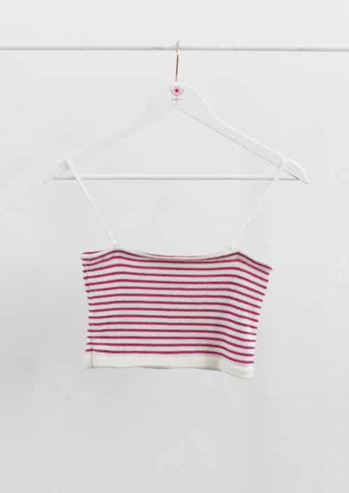 Francesca Palumbo Pink and White Stripes Knitted Crop Top and Skirt Co-ord