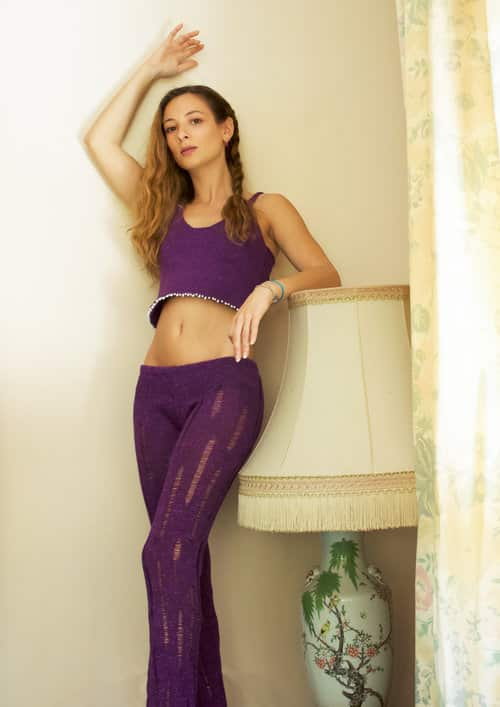 Francesca Palumbo Purple Knitted Crop Top and Trousers