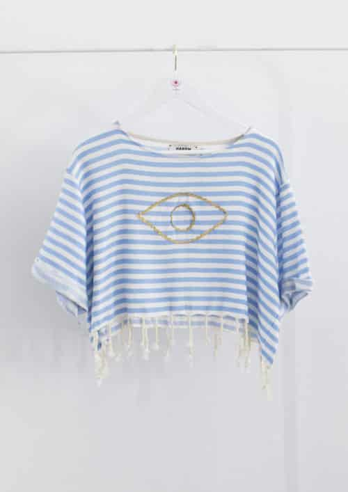 Evil Eye Blue Sailor Crop Top Harem London