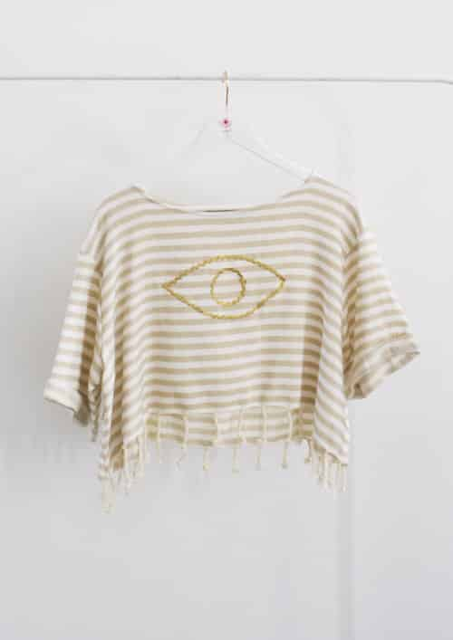 Evil Eye Beige Sailor Crop Top Harem London