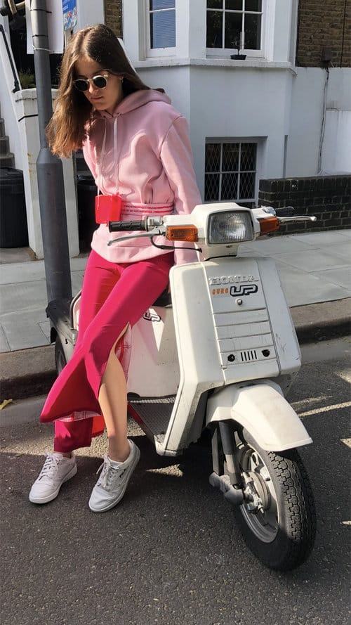 Red Cherry Silk Trousers with Pink Tartan Split and Pink Belt Hoodie