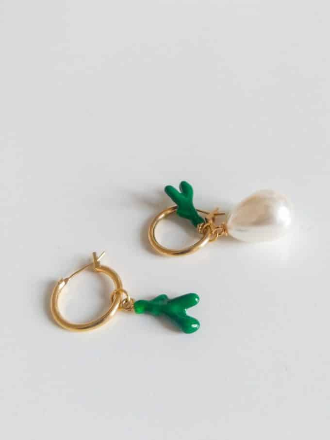 Pearl Coral Green Hoops Daixa Somed