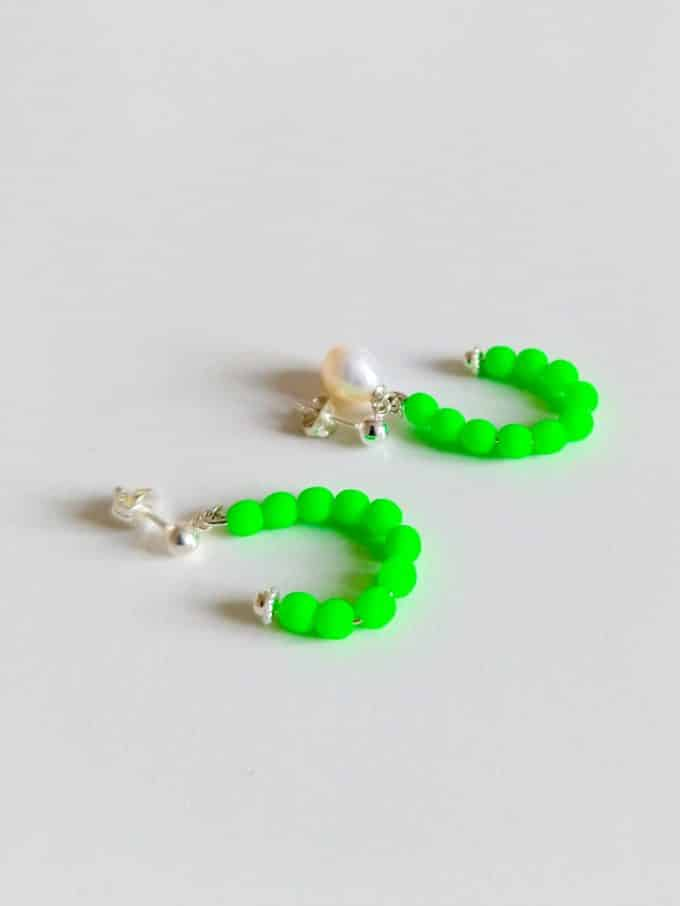Green Neon Pearl Earrings