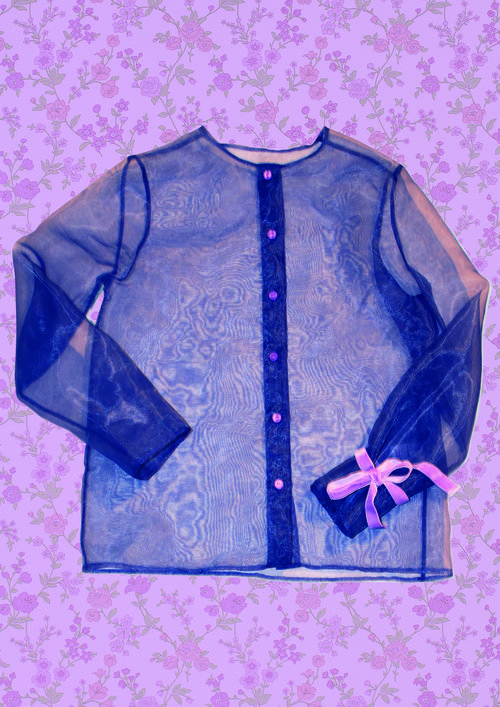 See-through Blue Shirt with Lilac Corduroy Crop Top and Collar