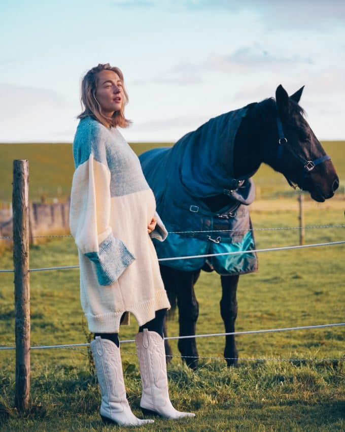 Carolien Spoor with Elizabeth An'Marie Dress Cowboy Boots and Horse