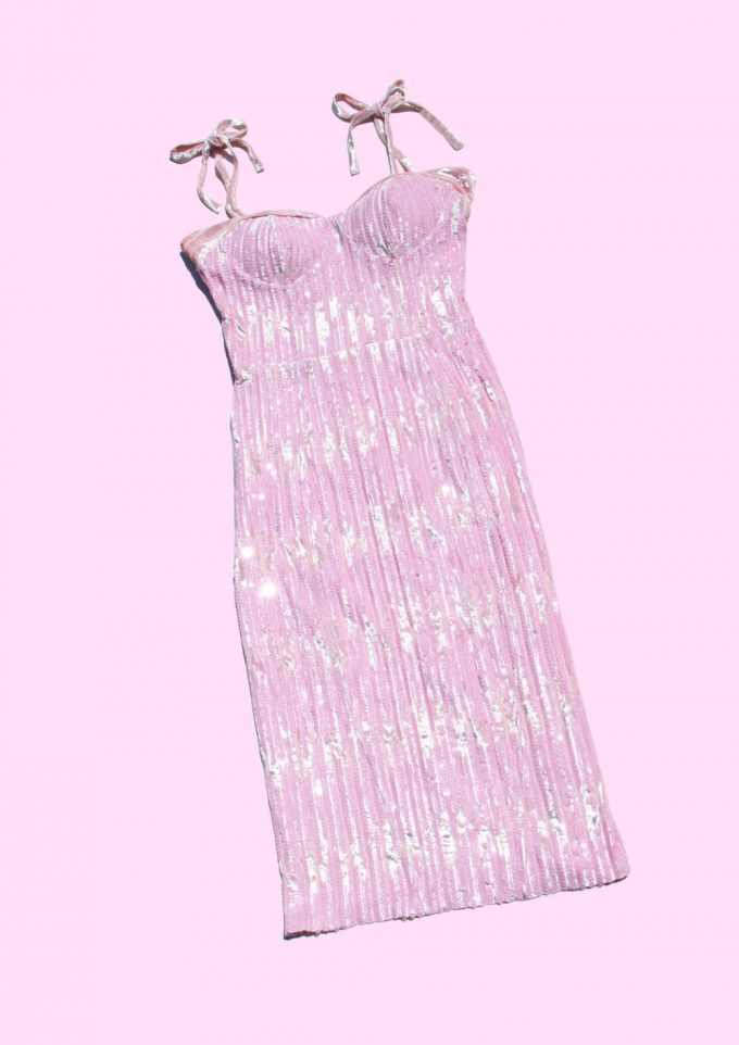 Pink Sequin And Velvet Dress Maison Vermillion