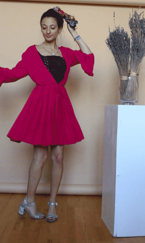 Rose Corps Pink Cherry Dress with Large Cleavage