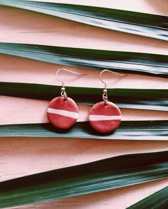 This Forma Handmade Red with White Striped Earrings