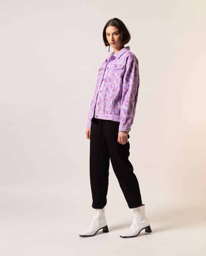Simonetta Sabo Hand painted Lilac Jeans Jacket