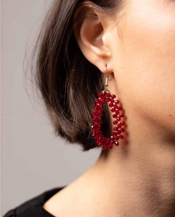 Shakila Thebe Red Swarovski Crystals Earrings
