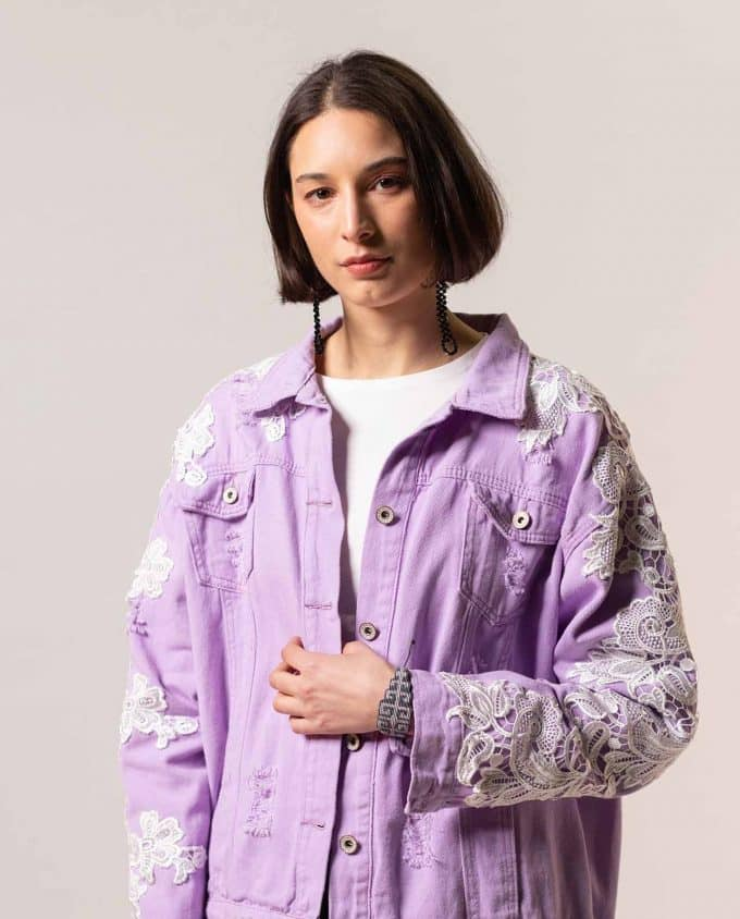 Simonetta Sabo Lilac and Lace Jeans Jacket