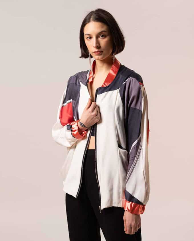JOA Pink and Grey Sporty Bomber Jacket