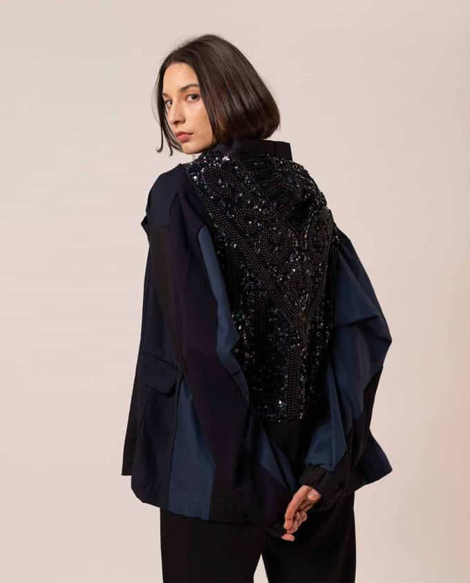 JOA Black Sequin Bomber Jacket