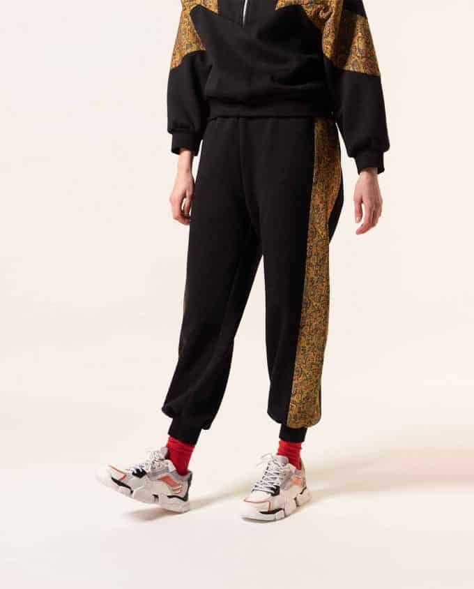 Maison Zal Zip Jumper Black with Yellow Art Silk Details and Sweatpants
