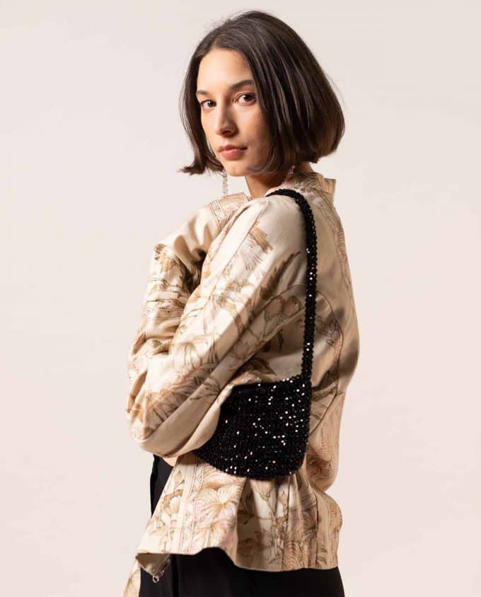 JOA Black Sequin Bomber Jacket and Shakila Black Sequins Bag
