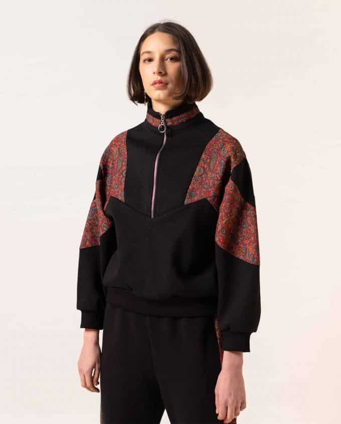 Maison Zal Zip Katayoon Jumper Black with Red Art Silk Details and Sweatpants