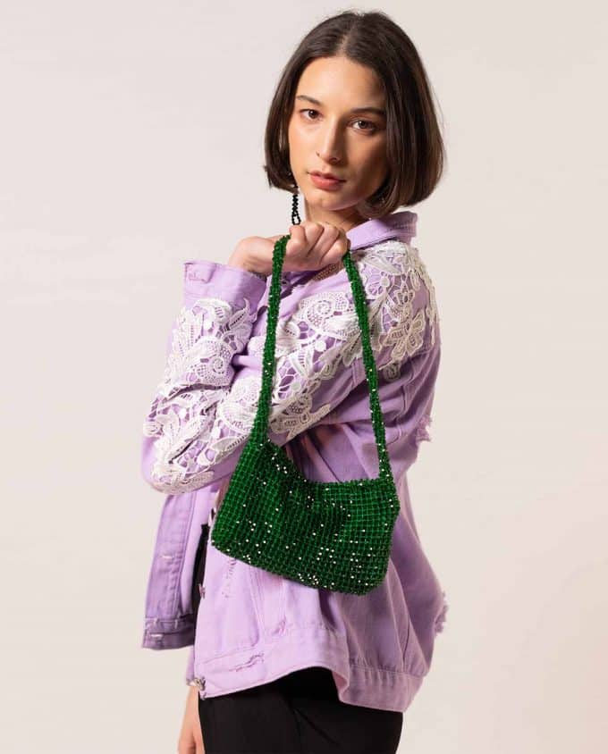 Shakila Thebe Green Sequin Bag