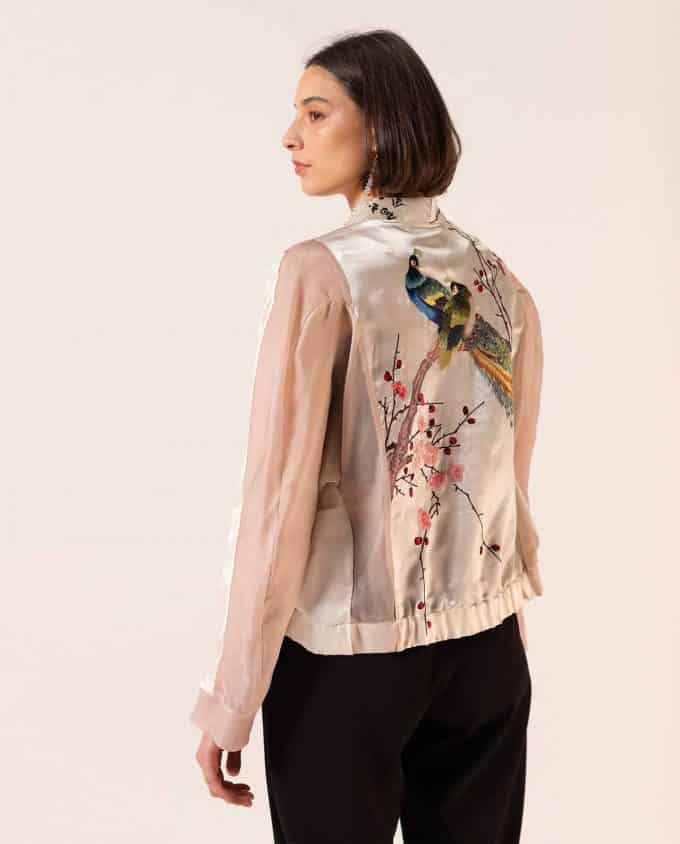 Trashion Factory Pink Silk and Organza Asian Cherry Blossom Bomber Jacket