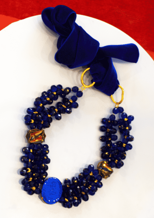 Piret Kartus Blue Vintage Stones and Velvet Necklace